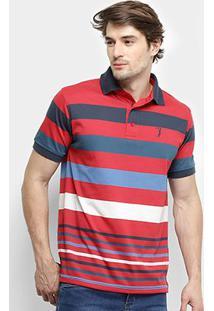 Camisa Polo Aleatory Listrada Masculina - Masculino-Azul+Vermelho