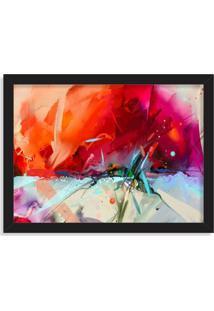 Quadro Decorativo Abstrato Pintura Vermelha Preto - Médio