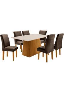 Conjunto De Mesa De Jantar Sevilha Com 6 Cadeiras Classic L Suede Off White E Marrom