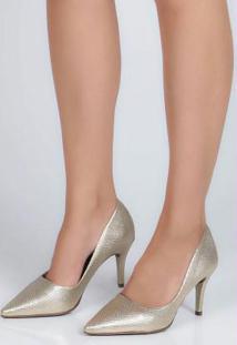 Sapato Scarpin Feno Animal Skin Dourado Dourado