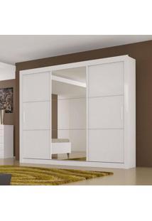 Guarda-Roupa 3 Portas De Correr Paradizzo 100 Mdf 4 Gavetas Com Espelho Branco - Novo Horizonte