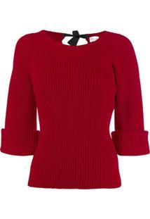 Red Valentino Suéter Canelado Com Decote Canoa - Vermelho