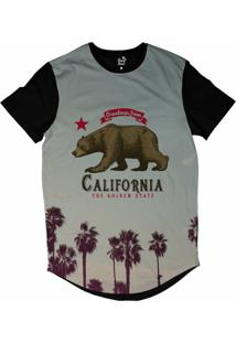 Camiseta Longline Long Beach Urso California Sublimada Cinza