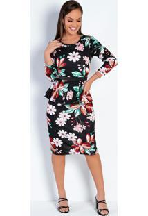 Vestido Com Babado Floral Preta Moda Evangélica