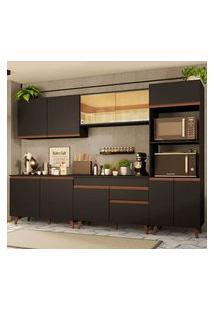Cozinha Completa Madesa Reims 310001 Com Armário E Balcão Preto Cor:Preto