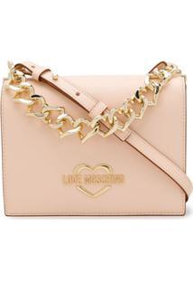 Love Moschino Heart-Chain Logo-Plaque Crossbody Bag - Neutro