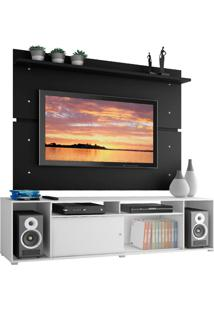 Rack Madesa Cancun E Painel Para Tv Até 65 Polegadas - Branco/Preto Branco