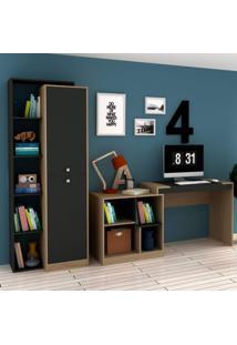 Conjunto Home Office Com Escrivaninha Multifuncional E Armário 2 Portas Móveis Avelã Tx/Ônix Tx