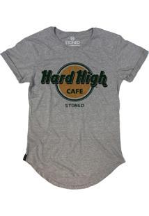 Camiseta Stoned Longline Hard High Cafe Cinza