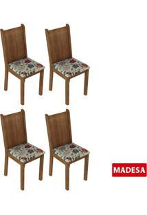 Kit 4 Cadeiras 4290 Madesa Rustic/Hibiscos