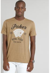 "Camiseta Masculina ""Poker"" Manga Curta Gola Careca Marrom"