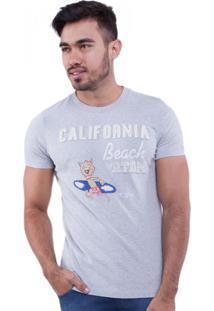 Camiseta Rota Do Mar Leão Surfista Cinza