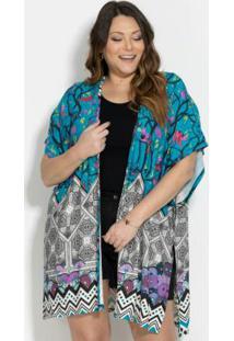 Kimono Barrado Verde Fenda Plus Size Quintess