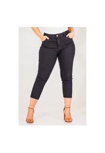 Calça Jeans Feminina Cropped Skinny Cós Alto Barra Cortada