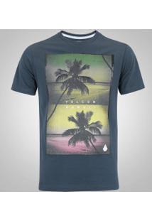 Camiseta Volcom Silk Slim Palmz - Masculina - Petroleo