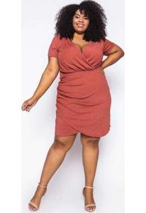 Vestido Curto Almaria Plus Size Sinap Lurex Telha Laranja