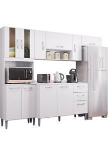 Cozinha Compacta 8 Portas Com Balcão Lavínia Branco - Poquema