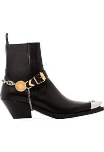Versace Ankle Boot Medusa Com Bico Metalizado - Preto