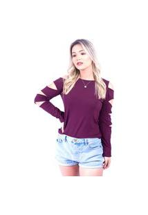 Blusa Up Side Wear Recortes Laterais Vinho
