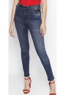 e3e56b8551 ... Jeans Skinny Com Bolsos - Azul Escurodudalina