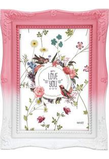 Porta Retrato Mart Bau Rosa E Branco