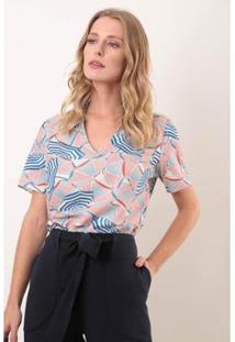 Blusa Manga Curta Decote V Modal Guarda Sol Ervadoce Feminina - Feminino-Azul