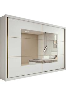 Guarda Roupa Casal C/ Espelho 2 Portas De Correr 6 Gavetas Toronto Plus Branco Lopas - Tricae