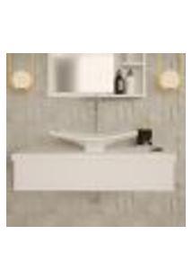 Conjunto Para Banheiro Bancada Com Cuba F44 Folha City 800 Branco Chess