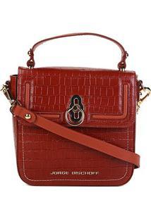 Bolsa Couro Jorge Bischoff Handbag Estruturada Croco Verniz Feminina - Feminino-Caramelo