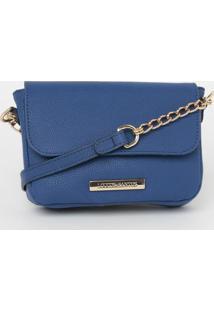 Bolsa Transversal Com Corrente & Tag - Azul - 13X18Xloucos E Santos