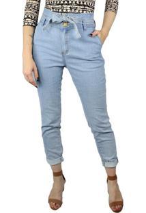 Calça Jeans Feminina Instinto Cintura Alta Azul Claro - 42
