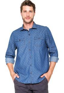 Camisa Jeans Aleatory Estampadas Azul