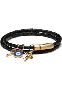 Pulseira Key Design Masculina Julius Gold Leather - Masculino-Preto