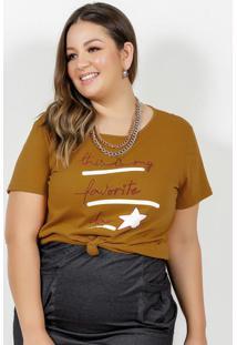 Blusa Caramelo Com Estampa Na Frente Plus Size