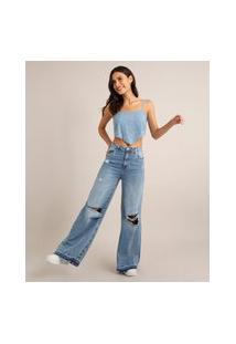 Calça Wide Pantalona Jeans Destroyed Cintura Baixa Azul Médio