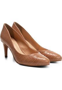 Scarpin Shoestock Salto Médio Croco - Feminino-Nude