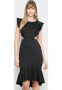 Vestido Mercatto Midi Babados Recortes - Feminino-Preto