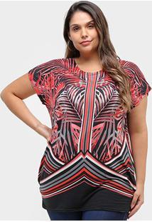 Blusa Royallove Plus Size Básica Floral Feminina - Feminino-Vermelho