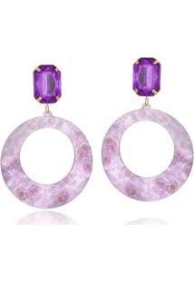 Brinco Le Diamond Acrílico Geométrico Base Cristal - Feminino-Violeta