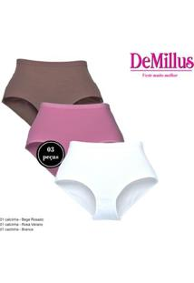Kit 3 Calcinhas Demillus Clássica Cotton Feminina - Feminino-Branco+Rosa