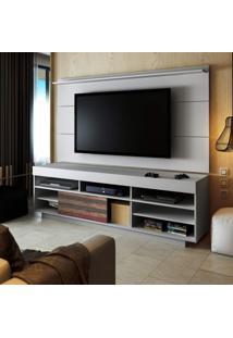 Rack Com Painel Para Tv Até 42 Polegadas Treviso Siena Móveis Flex Color Branco/Antique