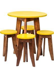 Conjunto Mesa E 4 Banquetas Coloridas Isadora Design Amarelo Estrada