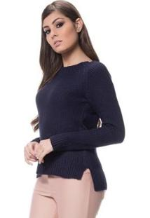 Blusa Logan Tricot Textura Clássica Ponto Arroz Feminina - Feminino-Marinho