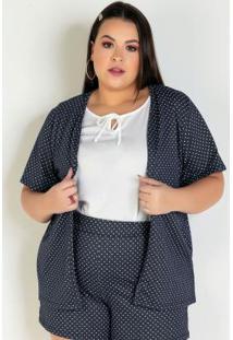 Kimono Poá Marinho Com Mangas Curtas Plus Size