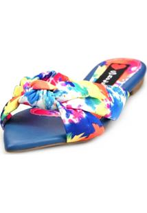 Sandália Rasteira Love Shoes Mule Bico Folha Nó Tie-Dye Azul
