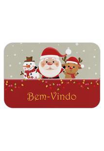 Tapete Decorativo Mdecore Natal Bem-Vindo Bege 40X60Cm