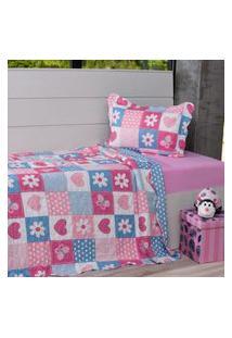 Kit Cobre Leito Casal + Porta Travesseiro Infantil Patchwork Corações - Bene Casa
