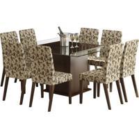 225e25734 Conjunto De Mesa Com 8 Cadeiras Carol Tabaco E Floral