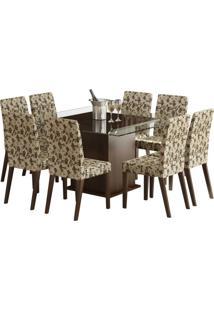 Conjunto De Mesa Com 8 Cadeiras Carol Tabaco E Floral