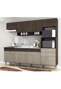 Cozinha Compacta Anita 9 Portas E 2 Gavetas Malbec/Decapê Novo Tempo